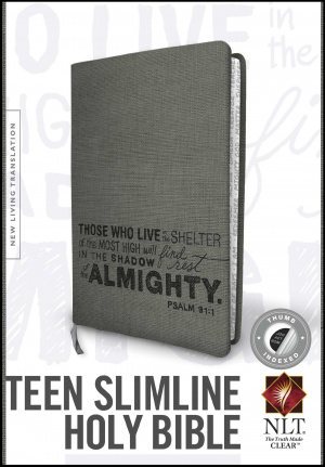 Teen Slimline Bible NLT: Psalm 91, Charcoal