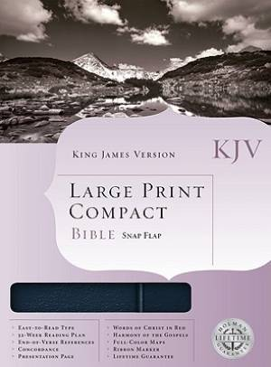 KJV Compact Bible: Navy, Bonded Leather, Large Print, Snap Flap