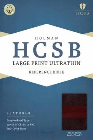 HCSB Large Print Ultrathin Reference Bible, Saddle Brown Lea