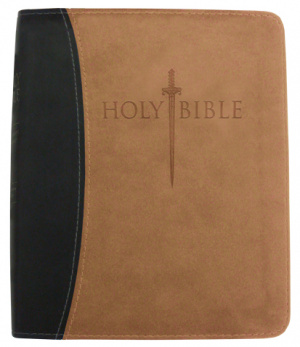 Kjver Thinline Bible/Personal Size-Black/Tan Ultrasoft