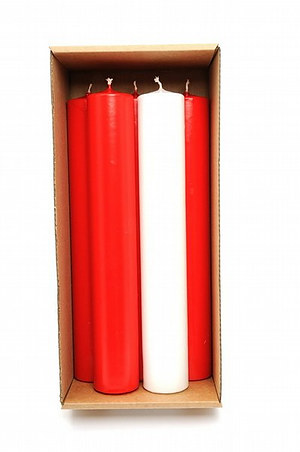 """Red & White Advent Candles (2"""" Diameter)"""
