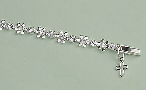 Crystal Flower Bracelet: Silver with Clear Crystal
