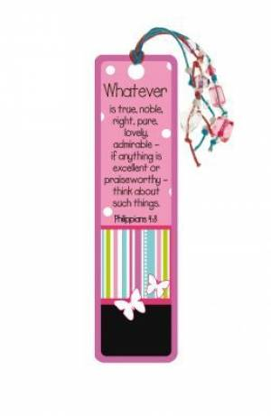 Beaded tassle bookmark - Whatever is true ... (Pack of 6)