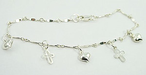 Cross & Heart Charm Bracelet: Silver