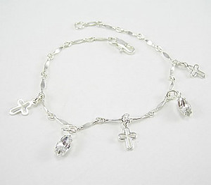 Cross & Navette Cut Crystal Charm Bracelet: Silver with Clear Crystal