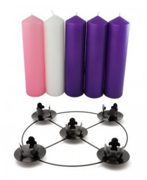 Purple Pink & White Advent Candle Set including Frame