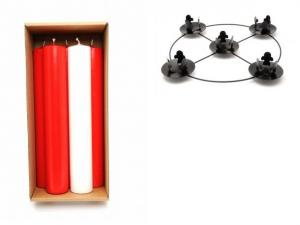 4 Red & 1 White Advent Candles 2 inch with Frame