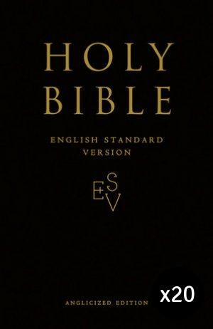 ESV Anglicized Gift and Award Bible Black Pack of 20