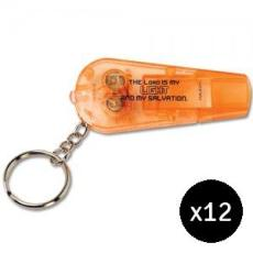 GLOW Whistle and Flashlight Keychain - Bundle of 12