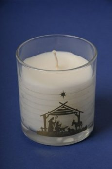 Nativity Candle In Glass - Single