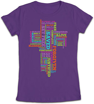 In Christ I Am Fitted T Shirt: Purple, Female 2XLarge
