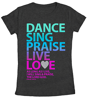 Dance Sing Praise Fitted T Shirt: Grey, Female XLarge