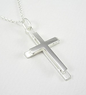 Double Lay Cross Pendant: Silver