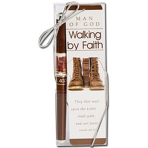 Man of God Walking in Faith Bookmark & Pen Set