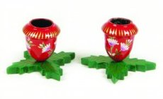 2 Holly Leaf Candle Holders