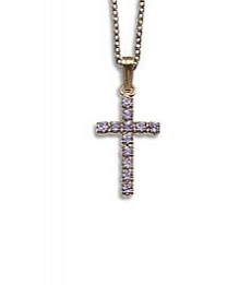 Crystal Cross Pendant: Silver with Violet Crystal