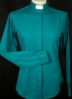 Women's Teal Fitted Clerical Shirt Size 8