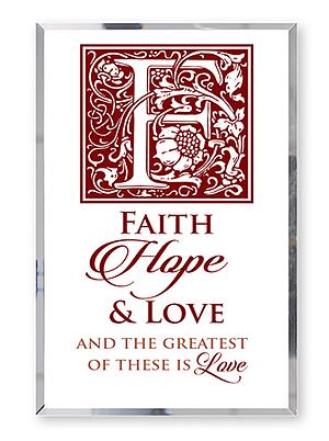 Faith Hope Love Glass Plaque