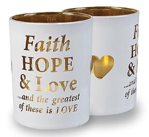 Faith Hope and Love Tealight Holder