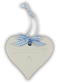 Ceramic Heart Keepsake - Christening Boy
