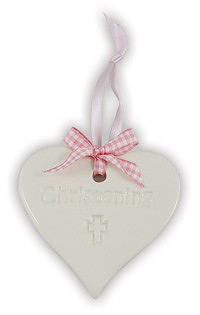 Ceramic Heart Keepsake - Christening Girl