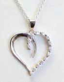 Open Heart with Cubic Zirconia Pendant