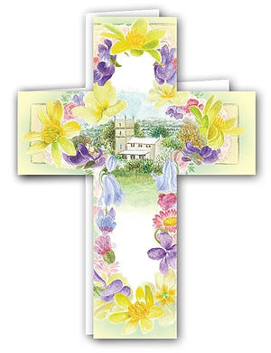 Floral Cross Green Card - Pack of 4
