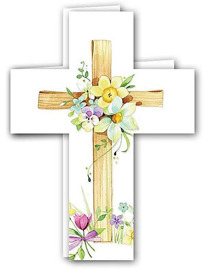 Cross Floral Card - Pack of 4