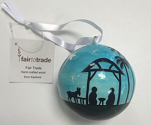 Large Papier Mache Wise Men & Stable Bauble