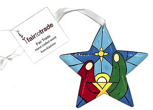 Star Decoration - Stain Glass / Nativity Design