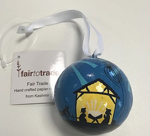 Small Papier Mache Bauble Blue Stable design