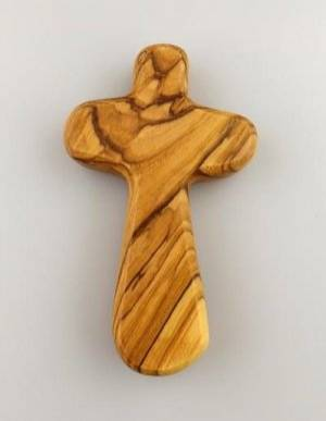 Wide Hand Carved Olive Wood Holding Cross