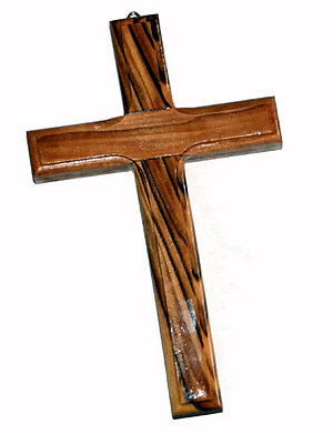 Plain Olive Wood Wall Mounted Cross