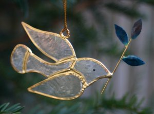 Hanging Gold Dove with Olive Branch