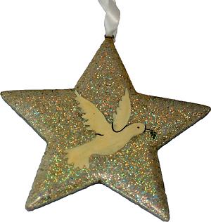 Silver Glitter Dove Christmas Star Decoration