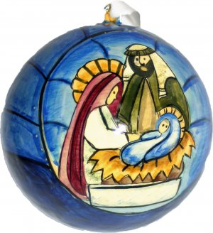 Window Nativity Christmas Bauble