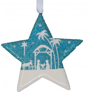 Blue Glitter Nativity Scene Star Christmas Decoration