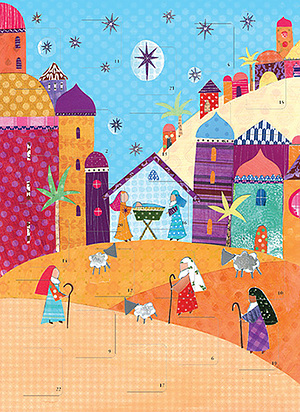 The Bright Nativity Advent Calendar Card