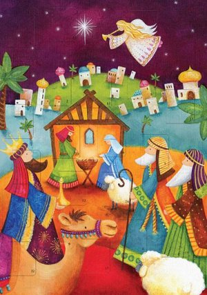 Shepherds Nativity Scene A4 Advent Calendar