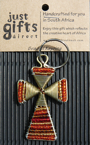 Beaded Cross Keyring