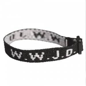 Wristband - Black, W.W.J.D. Pack of 6