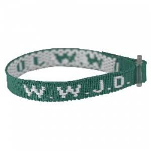 Wristband - Green, W.W.J.D. Pack of 6