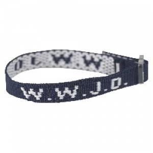 Wristband - Navy Blue, W.W.J.D Single
