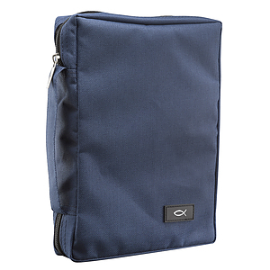 Fish Applique (Navy Blue) Promo Poly-Canvas Bible Cover - Large