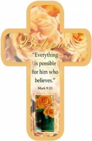 """Believe"" Paper Cross Bookmark Pack of 12"