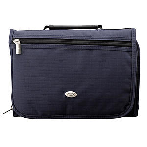 Three-Fold Organizer (Navy Blue) Polyester Bible Cover- Medium
