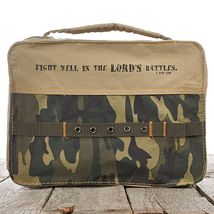 1 Tim. 1:18 (Camouflage) Cotton Bible Cover- Medium