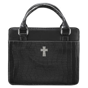Cross (Black) Classic Croc Purse-Style Bible Cover- Medium