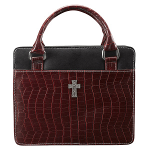 Cross (Burgundy) Classic Croc Purse-Style Bible Cover- Medium