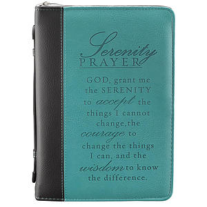 Bible Cover - Serenity Prayer (Aqua) Imitation Leather - Medium